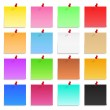 Set of blank post-it notes with push pins, vector ...