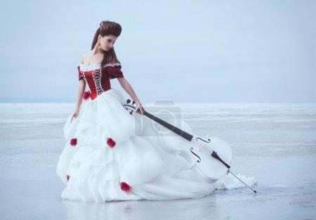 Photo pour Belle brune dans une robe avec violoncelle - image libre de droit