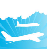 Airplane silhouettes background vector