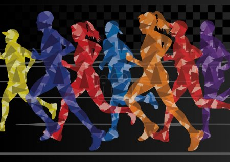 Marathon runners mosaic silhouettes colorful vector