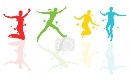 Dancing girls with colorful spots and splashes vector background