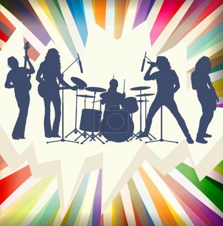 Rock concert band silhouettes burst background illustration vect