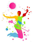 Colorful bright ink splashes and happy person for poster or card