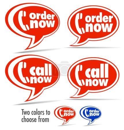 Illustration pour Bulles en deux couleurs pour les commandes par téléphone - 2 couleurs dans le fichier vectoriel - image libre de droit