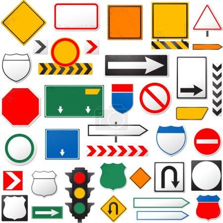 Ilustración de Varias señales aisladas sobre un fondo blanco - Imagen libre de derechos