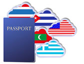 Vector concept of the passport and countries of the world in the form of clouds Eps10