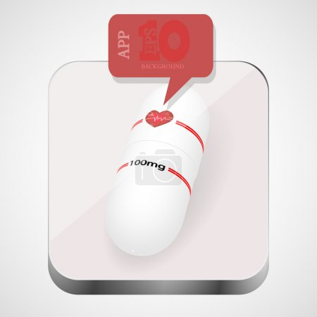 Illustration for Vector pill app icon with red bubble speech. Eps10 - Royalty Free Image