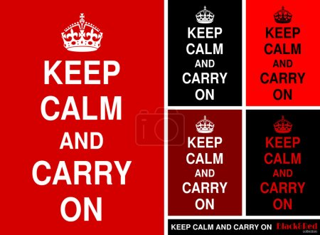 """Keep Calm and Carry On"" in red&black"