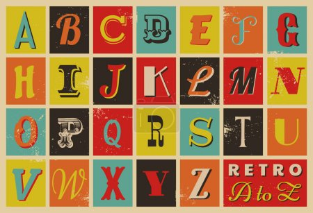 Illustration for Colorful retro style letters. - Royalty Free Image