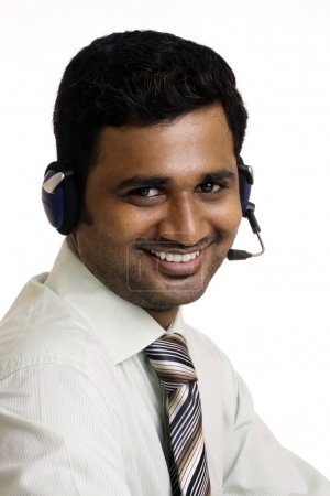 Indian young man working in call center