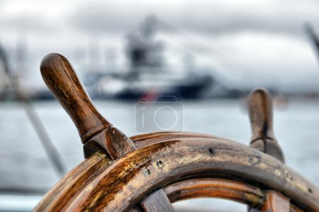 Photo for Steering wheel sailboat - Royalty Free Image