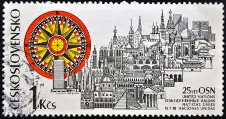 CZECHOSLOVAKIA - CIRCA 1970: stamp printed in Czechoslovakia dedicated to united nations, shows shows various monuments around the world, circa 1970