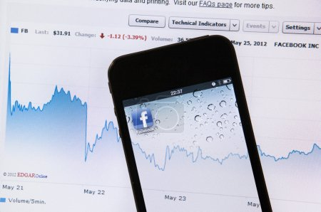 Photo for Lcd combined with an iphone screen close up of facebook stocks performance some days after the May 2012 IPO (Initial Public Offering). A detail on the stocks value after the initial serious downfall. - Royalty Free Image