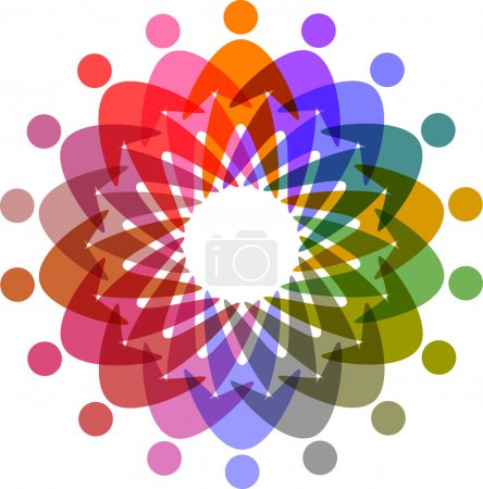 Circle of colorful pictogram, abstract vector icon for design