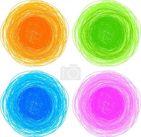Pencil colorful hand drawn circles