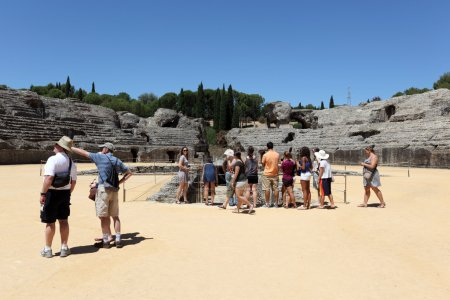 Tourists at the Ruins of Roman City Italica. Seville Province, Andalusia Spain