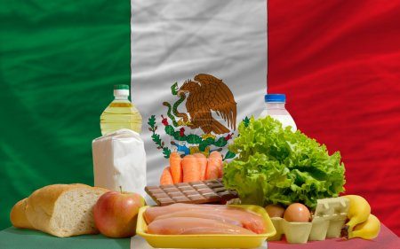 Basic food groceries in front of mexico national flag