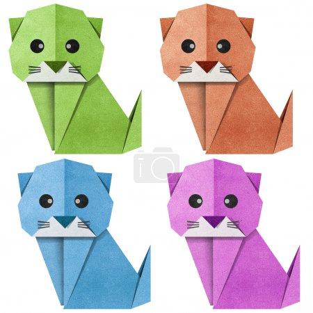 Foto de Gato de origami de papel reciclado - Imagen libre de derechos