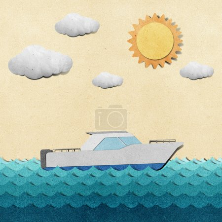 Photo for Boat and sea view recycled papercraft - Royalty Free Image