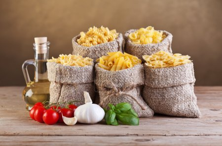 Assortment of pasta with fresh ingredients