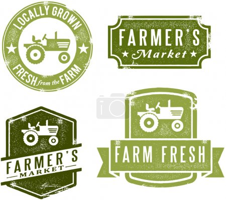 Illustration for A collection of antique style farmer's market graphics. - Royalty Free Image