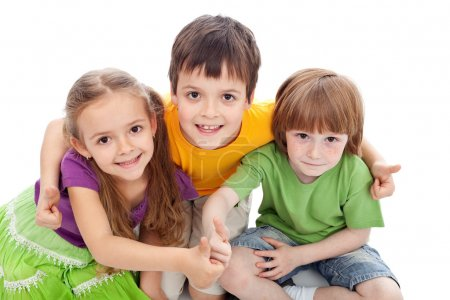 Photo for Childhood friends - kids hugging and giving thumbs up sign - Royalty Free Image