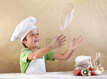 Preparing the pizza dough