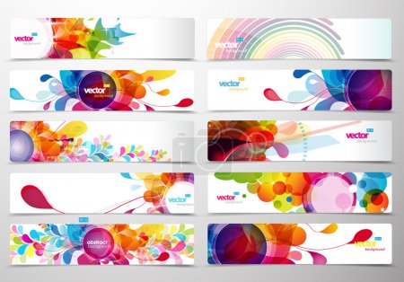 Illustration for Set of abstract colorful web headers. - Royalty Free Image