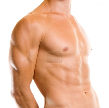 Close up of muscular male torso, over white