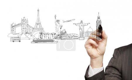 Photo pour Homme d'affaires main dessine un bâtiments architecturaux. isolé - image libre de droit