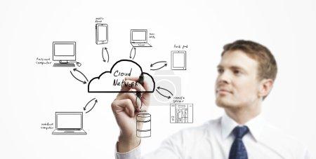 Photo pour Attirer l'homme de cloud computing de diagramme - image libre de droit