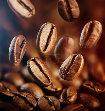 Photo for Falling coffee beans close up - Royalty Free Image