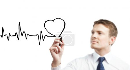 Young businessman drawing chart heartbeat...