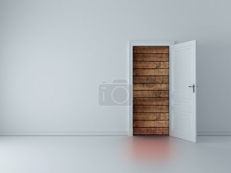 Door to wood wall