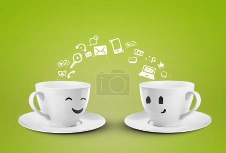 Photo for Two happy cups, social media symbol - Royalty Free Image