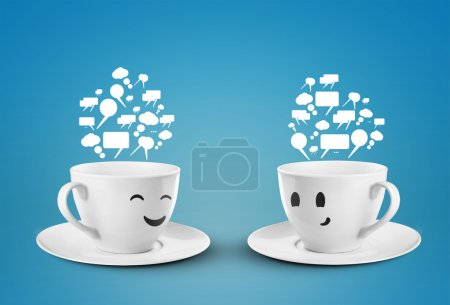 Photo for Two happy cups with speech bubbles - Royalty Free Image