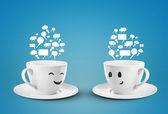"Постер, картина, фотообои ""две счастливых чашки"""