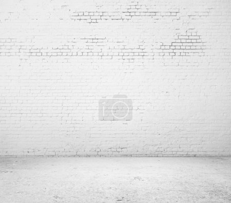 Photo pour Plancher et mur de brique blanche de haute résolution - image libre de droit