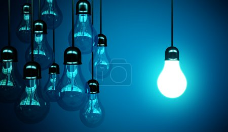 Photo for Idea concept with light bulbs on a blue background - Royalty Free Image