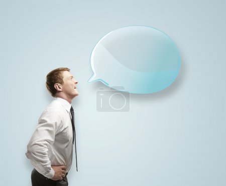 Photo for Man with blue speech bubble - Royalty Free Image