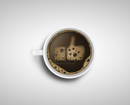 Photo for Cup of coffee with foam in like form - Royalty Free Image