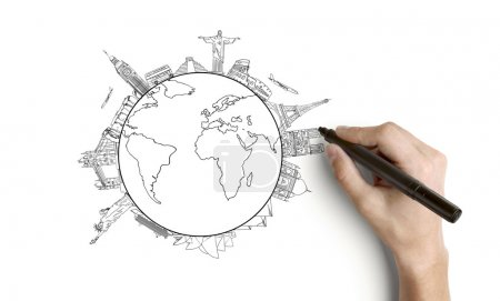 Photo for Hand drawing earth on a white background - Royalty Free Image