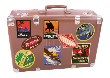 Illustration for World traveler suitcase over white background - Royalty Free Image