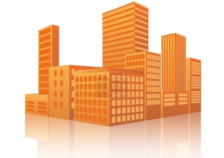 Illustration pour Illustration de la ville au coucher du soleil avec réflexion - image libre de droit