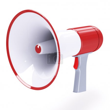 Red megaphone with red button isolated on white ba...