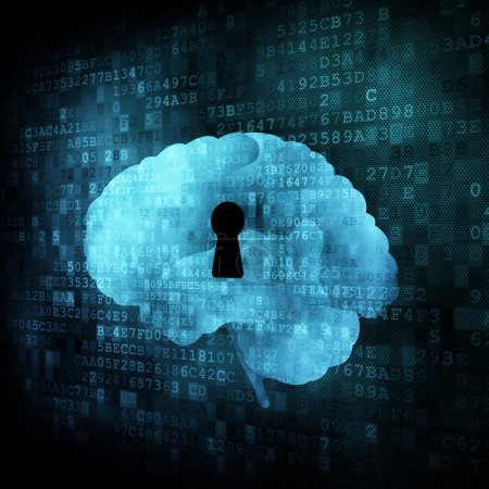Brain with keyhole on digital screen