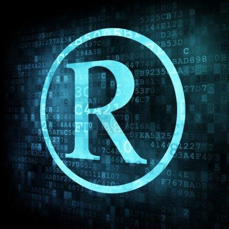 Registered symbol on digital screen