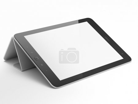 Photo for Black abstract tablet computer (pc) on white background, 3d render - Royalty Free Image