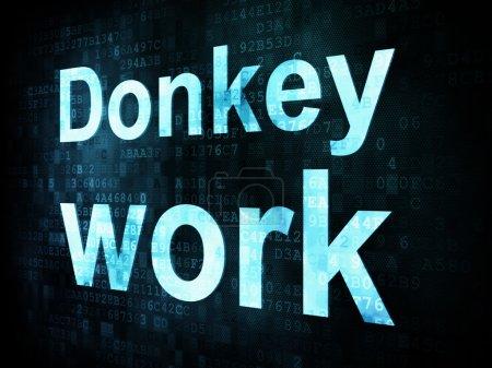 Photo pour Job, le concept de travail : pixélisé mots travail d'âne sur écran digital, rendu 3d - image libre de droit