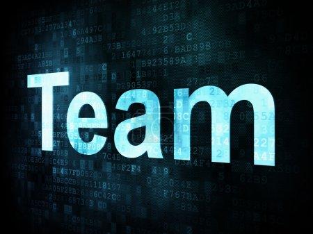 Photo pour Job, le concept de travail : pixélisé mots d'équipe à l'écran numérique, rendu 3d - image libre de droit